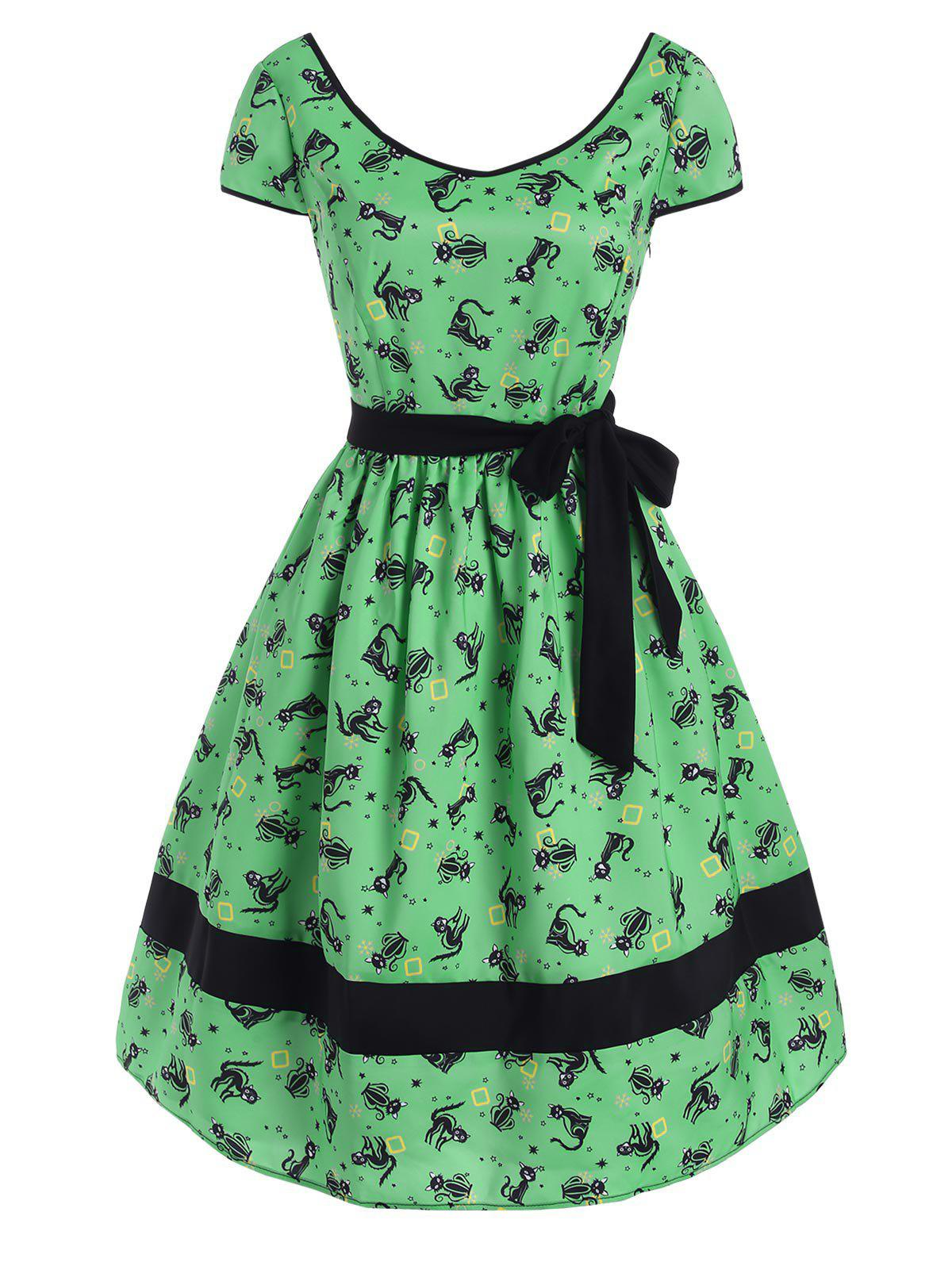 Shop Belted Cat Snowflake Star Print Cap Sleeve Dress