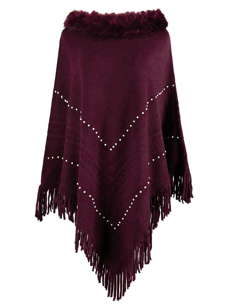 Fashion Plus Size Beaded Faux Fur Fringed Poncho Sweater
