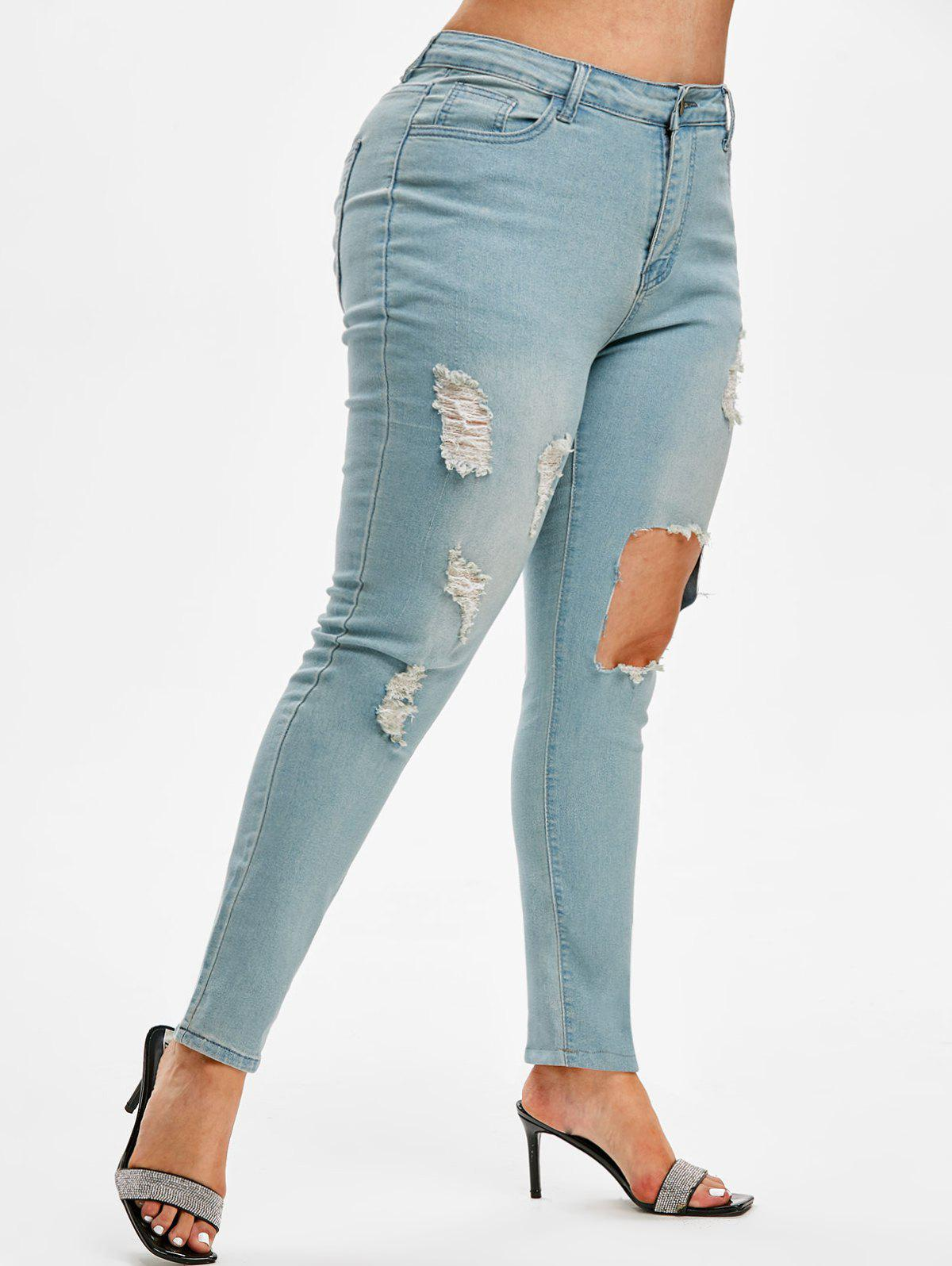 Latest Distressed Cut Out Plus Size Skinny Jeans