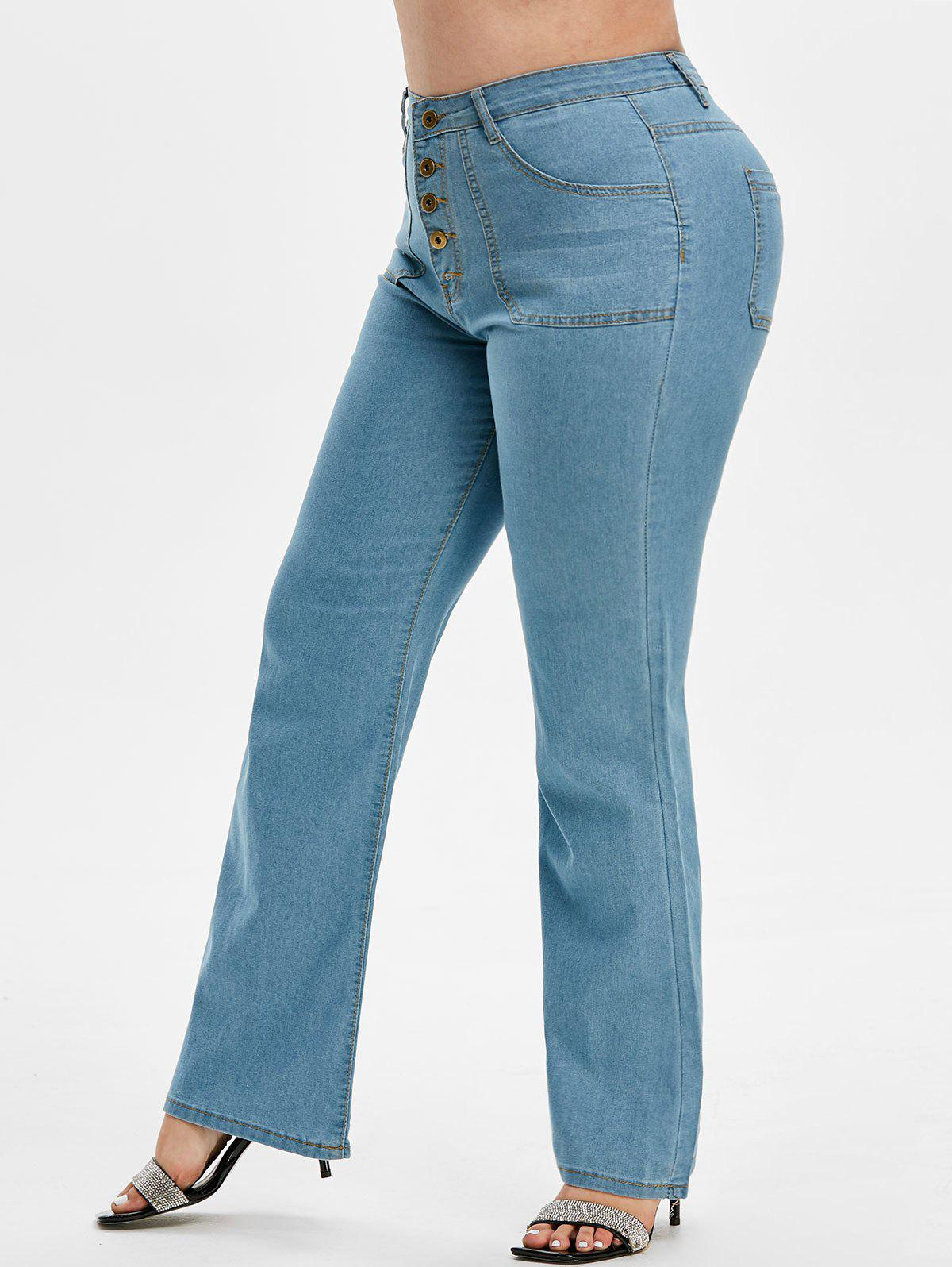 High Waisted Button Fly Plus Size Flare Jeans фото