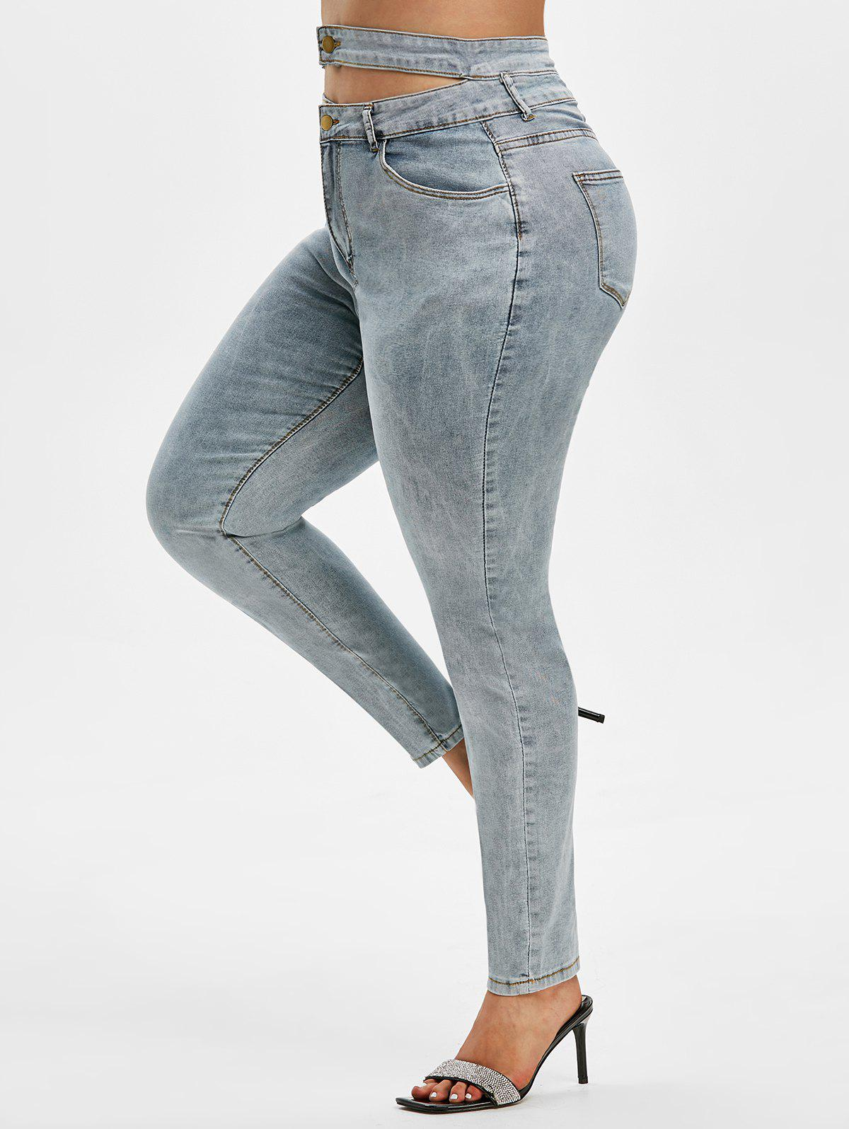 Best High Waisted Plain Cut Out Plus Size Skinny Jeans