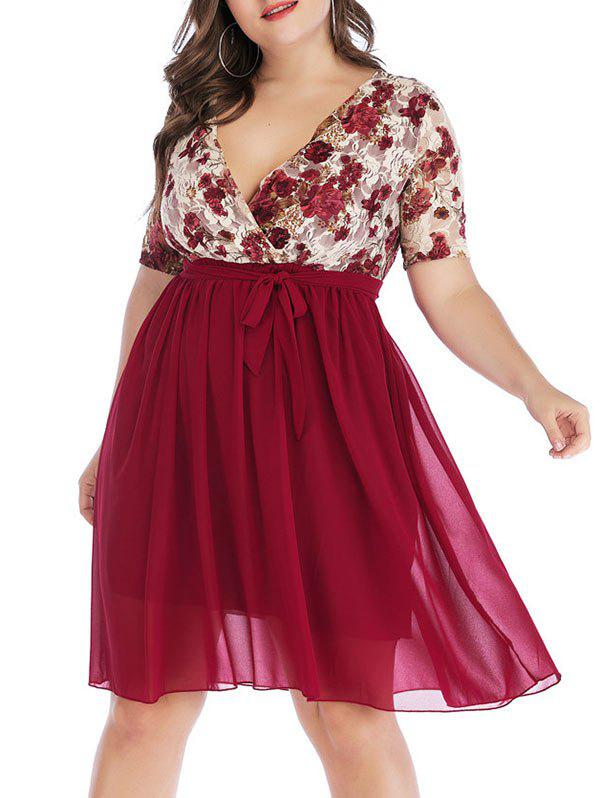 Affordable Plus Size Floral Lace Plunge Surplice Dress