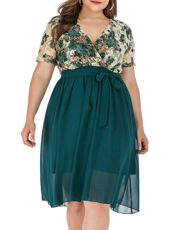 Best Plus Size Floral Lace Plunge Surplice Dress