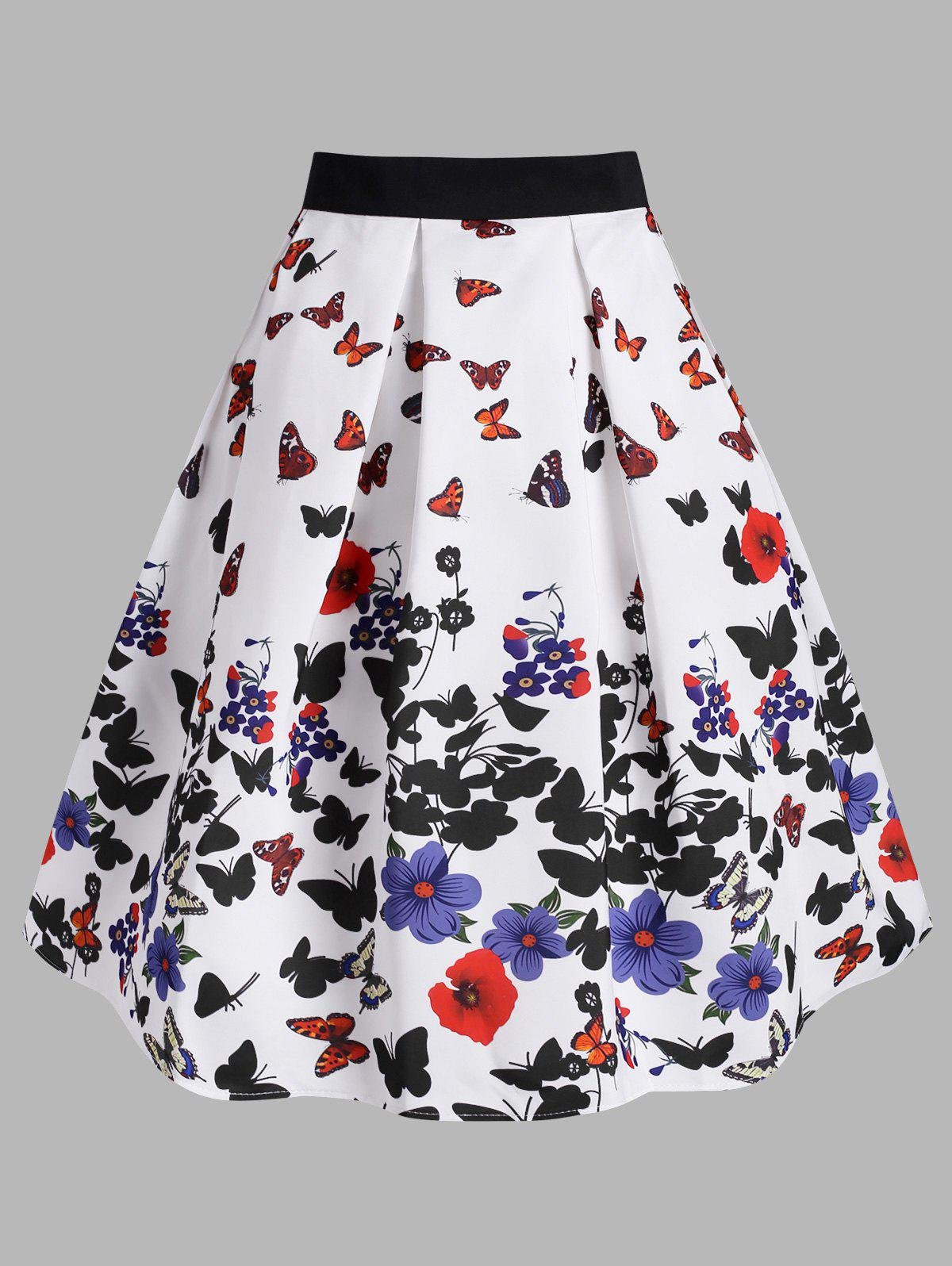 Unique Flower Butterfly Print A Line Skirt