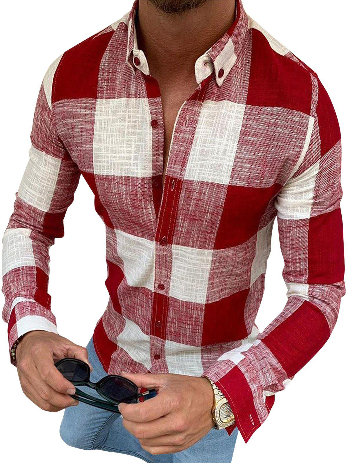 Affordable Gingham Plaid Print Button Down Casual Shirt