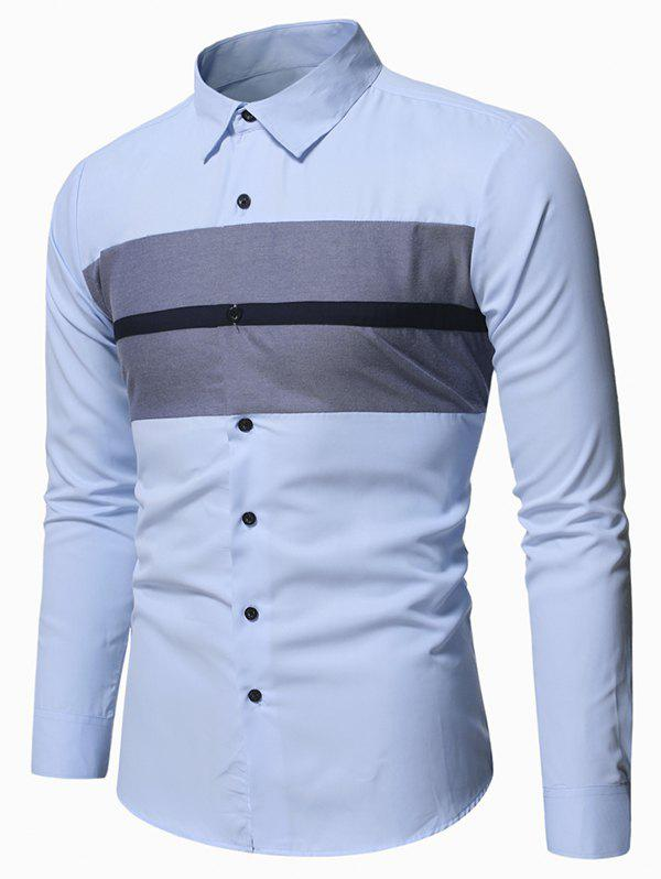 Best Colorblock Striped Detail Button Up Slim Shirt