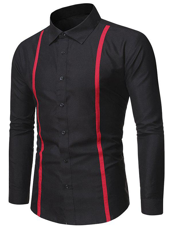 Buy Contrast Striped Detail Button Up Slim Shirt