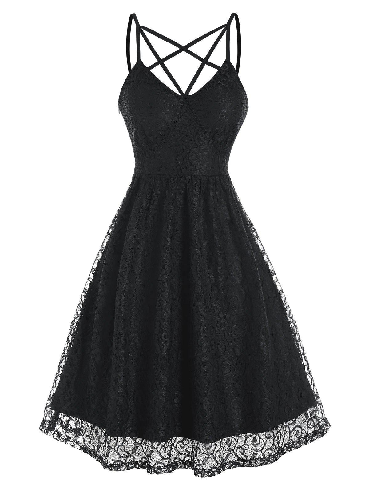 Fancy Strappy Sleeveless Lace Party Dress
