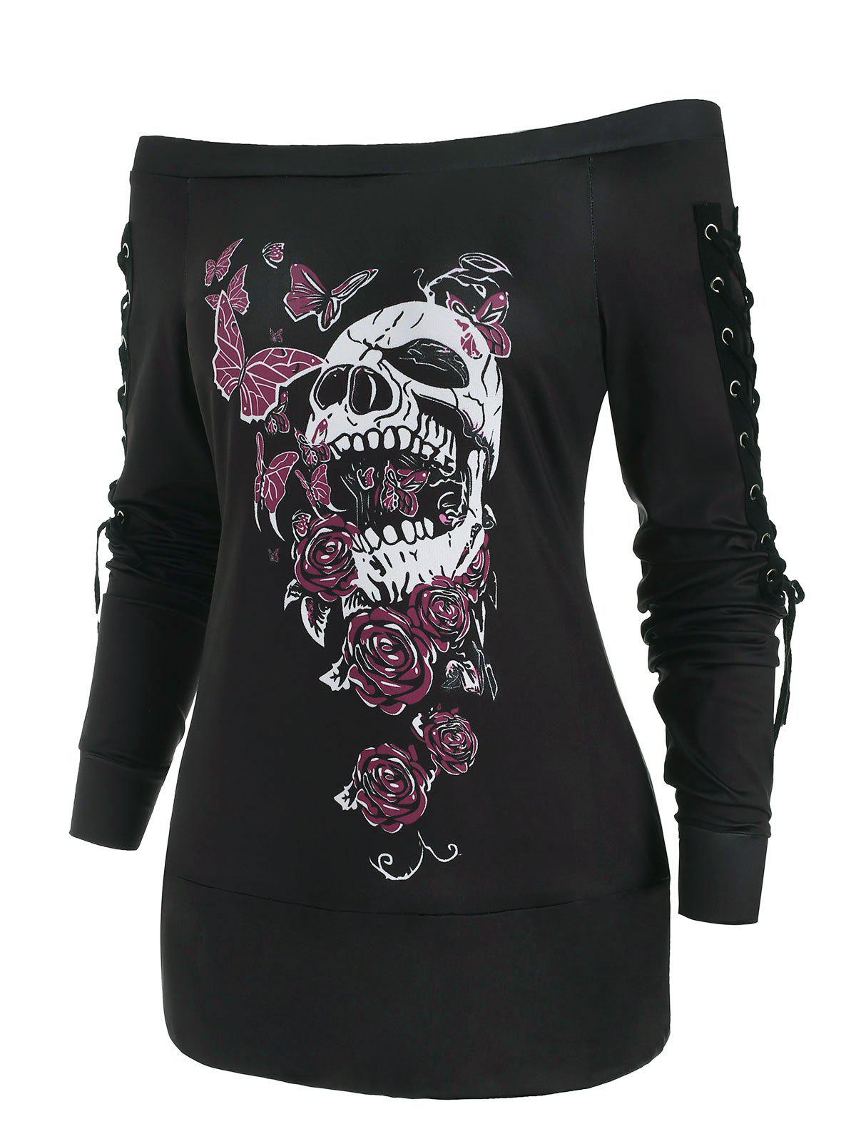 Outfit Butterfly Skull Lace Up Holloween Top