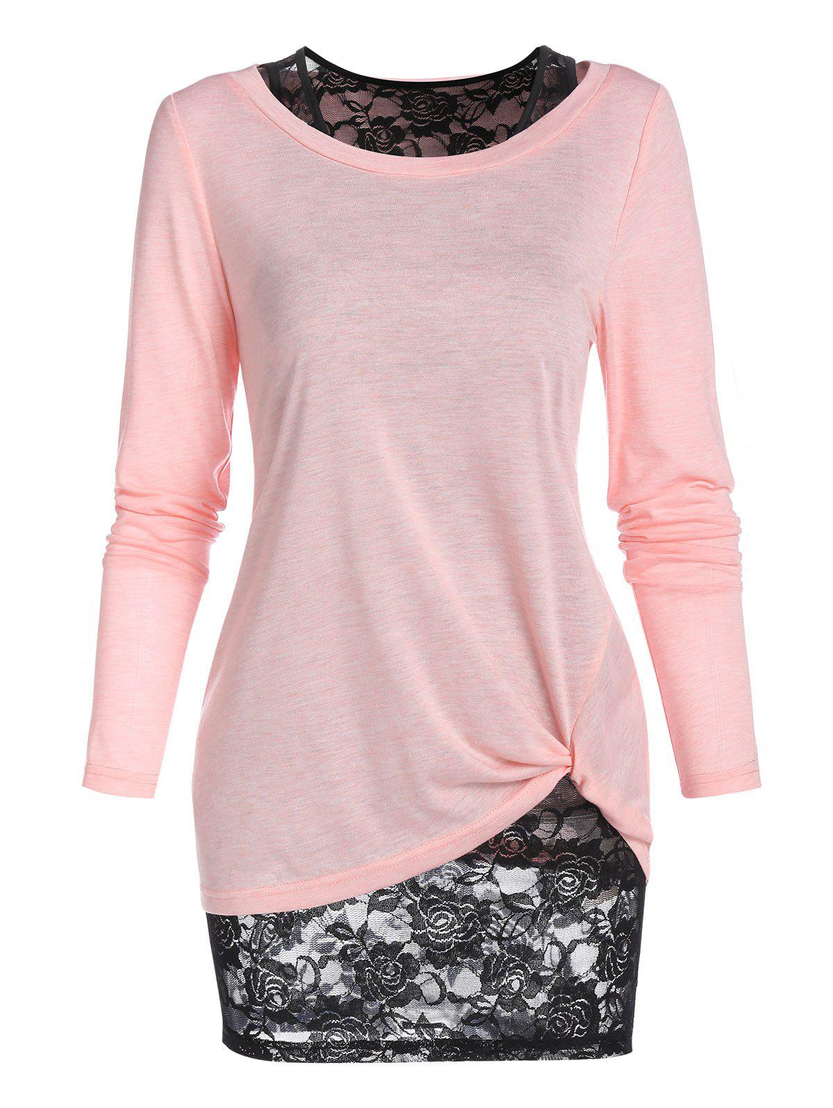Shop Long Sleeve Twisted T-shirt and Flower Lace Tank Top