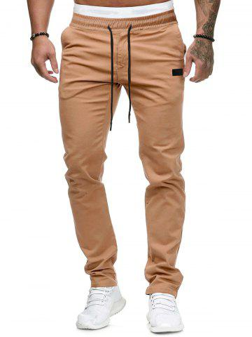 Plain Leather Detail Casual Straight Pants