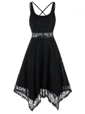 Sleeveless Strappy Backless Handkerchief Lace Dress