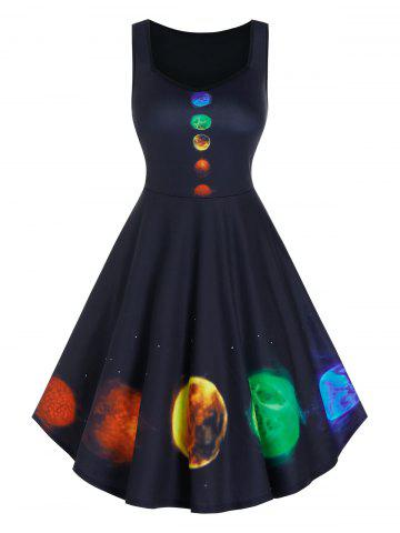 Colorful Planet Print Sleeveless A Line Dress