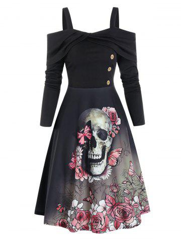 Floral Skull Pattern Mock Button Cold Shoulder Mini Dress
