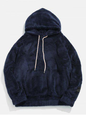 Pouch Pocket Patch Detail Fluffy Hoodie - MARBLE BLUE - XS