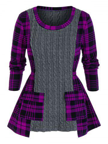 Plus Size Plaid Mixed-media Cable Knit Pocket Sweater