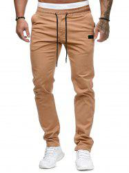 Plain Leather Detail Casual Straight Pants -