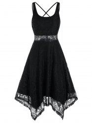 Sleeveless Strappy Backless Handkerchief Lace Dress -