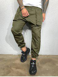 Pure Color Large Pockets Casual Beam Feet Pants -