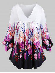 Plus Size Bell Sleeve Floral Print T Shirt -