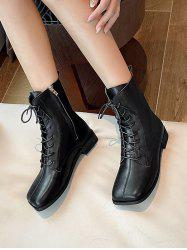 Square Toe Plain Leather Ankle Boots -