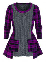 Plus Size Plaid Mixed-media Cable Knit Pocket Sweater -