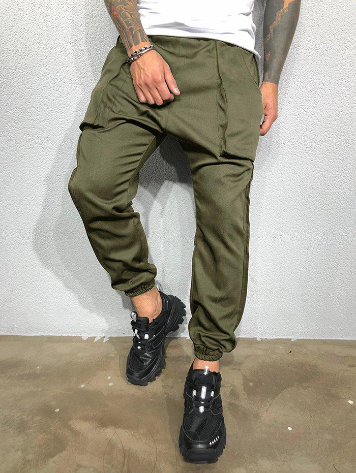 Discount Pure Color Large Pockets Casual Beam Feet Pants