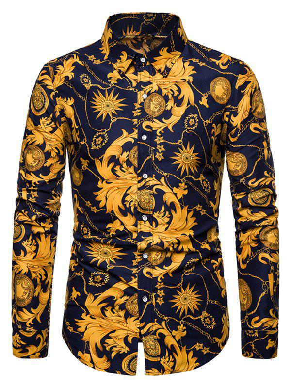 Latest Casual Baroque Chain Print Button Up Shirt