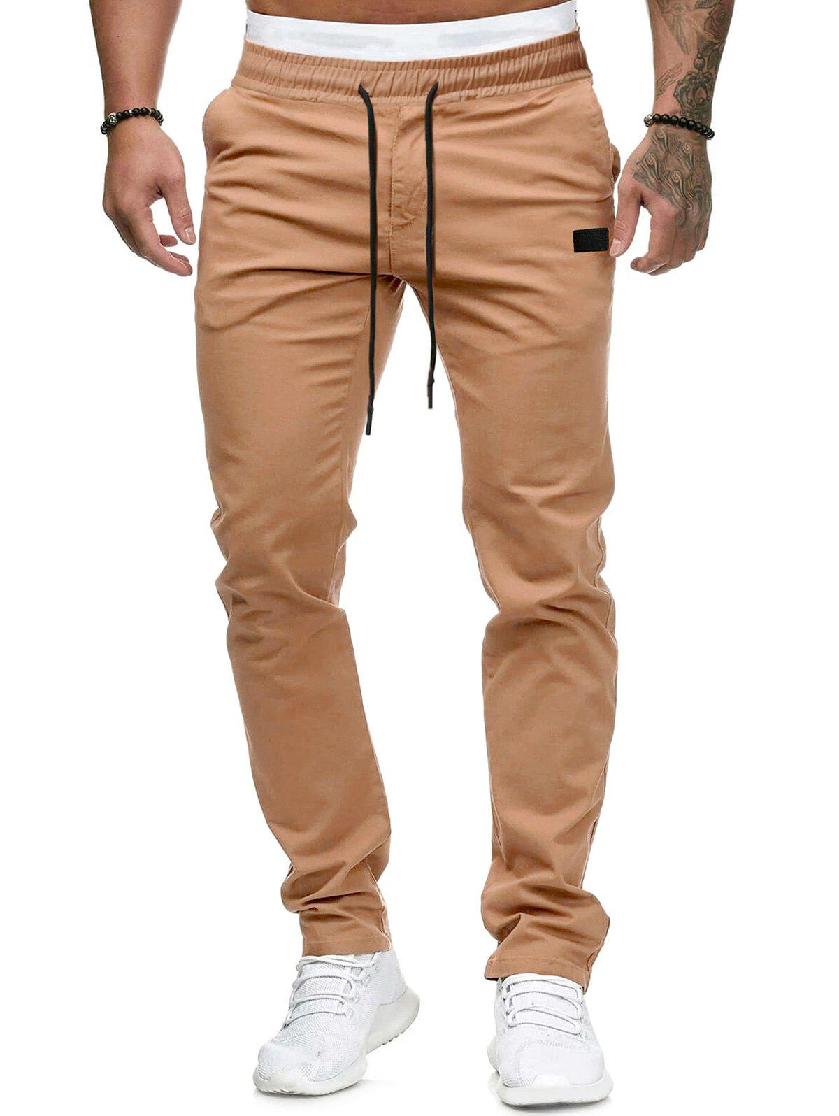 Outfits Plain Leather Detail Casual Straight Pants