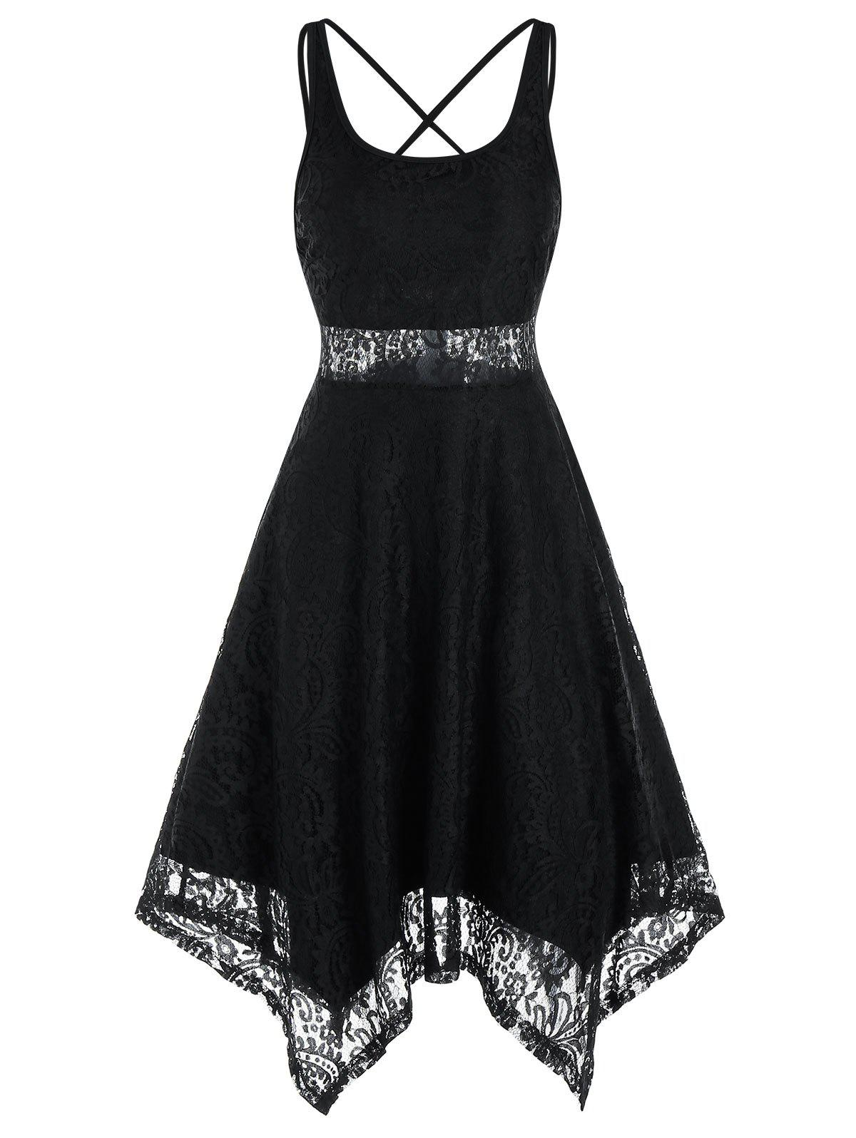 Discount Sleeveless Strappy Backless Handkerchief Lace Dress
