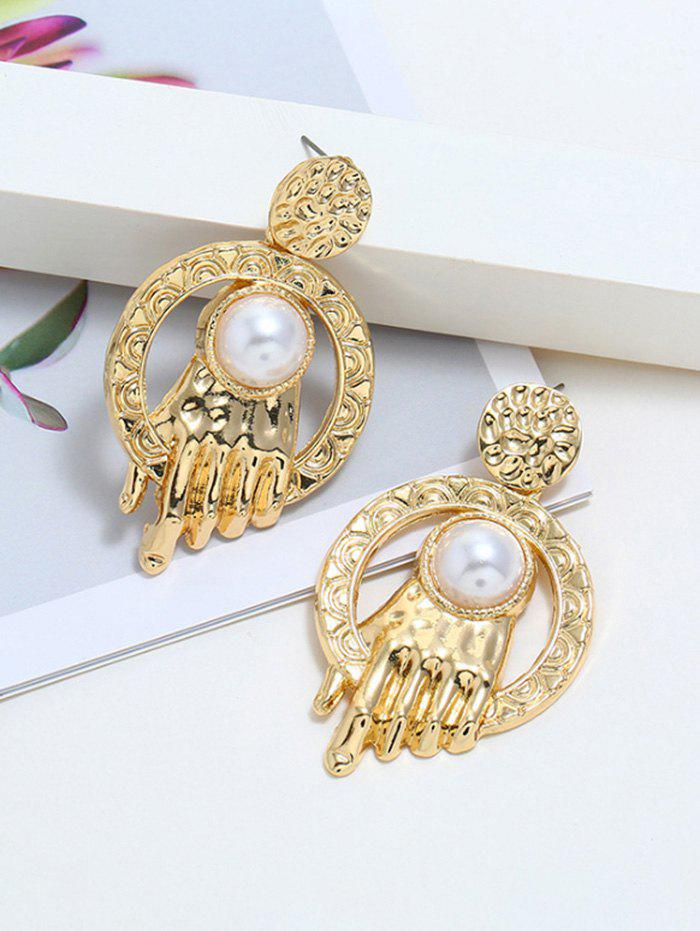 Chic Carved Faux Pearl Hand Shape Earrings