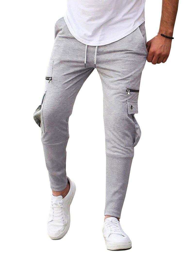 Fashion Plain Flap Pockets Drawstring Casual Sweatpants