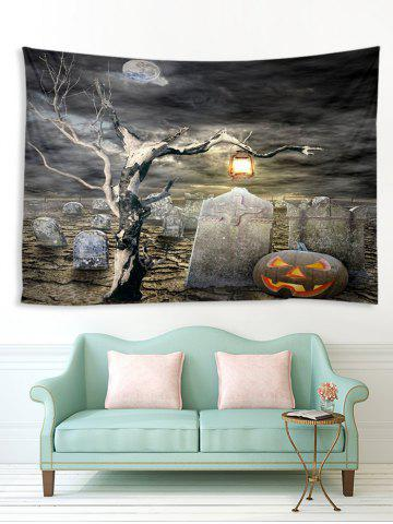Halloween Grave Tree Printed Multifunction Tapestry - MULTI - W91 X L71 INCH
