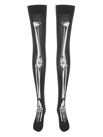 Plus Size Halloween Skeleton Print Goth Thigh Highs - BLACK - ONE SIZE