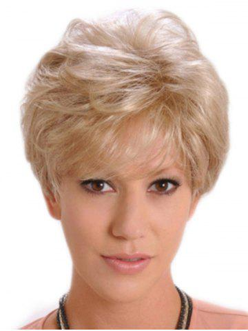Short Side Bang Slightly Curl Fluffy Synthetic Wig - CHAMPAGNE GOLD