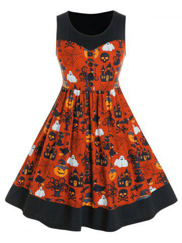 Plus Size Halloween Ghost Print Button Dress