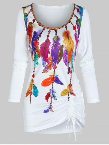 Colorful Feather Print Drawstring Hem Long Sleeve T Shirt - WHITE - 3XL