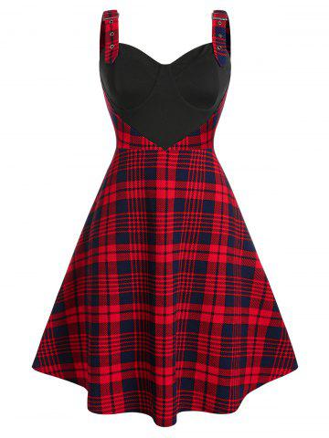 Plus Size Plaid Cupped Eyelet Buckle A Line Dress - LAVA RED - L