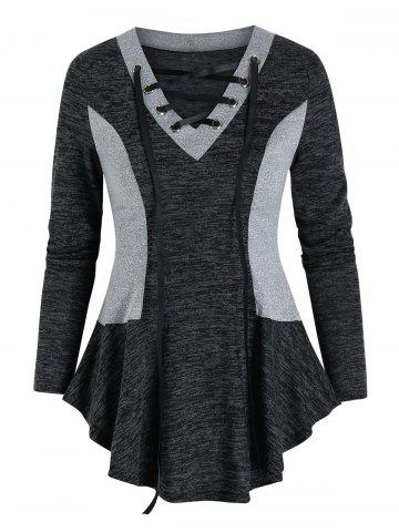 Contrast Color Lace Up Knitted T Shirt