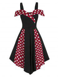 Contrast Polka Dot Print Cold Shoulder Vintage Asymmetrical Dress -
