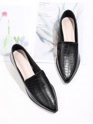 Pointed Toe Textured Slip On Shoes -