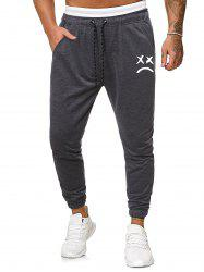 Funny Face Graphic Casual Drawstring Sweatpants -