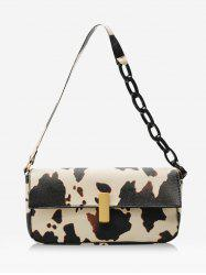 Cow Printed Rectangle Chain Small Shoulder Bag -
