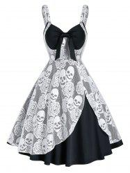 Sleeveless Halloween Skull Lace Insert Twofer Dress -