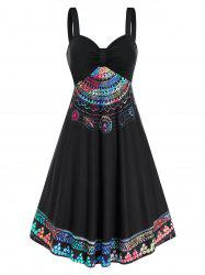 Colorful Printed Ruched Mini Cami Dress -