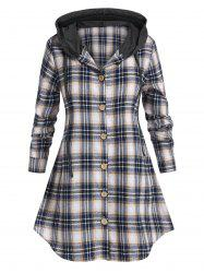 Plus Size Plaid Hooded Curved Hem Tunic Blouse -