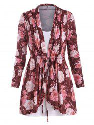 Plus Size Drawstring Floral Print Top and Camisole Set -