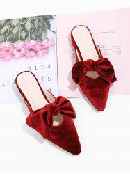 Pointed Toe Bowknot Velour Slide Shoes -