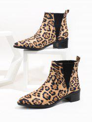 Pointed Toe Leopard Print Chelsea Boots -