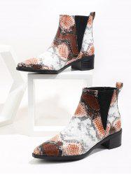 Pointed Toe Snakeskin Print Chelsea Boots -